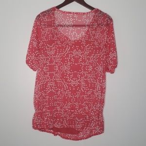 Lane Bryant Tops - Lane Bryant pink and white dot blouse size 14/16
